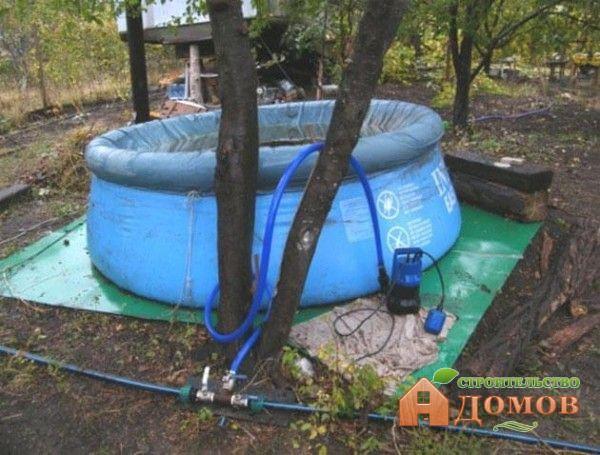 Слив воды из бассейна в огород