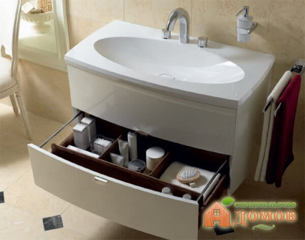 Тумбочки под раковину в ванной: их разновидности, преимущества