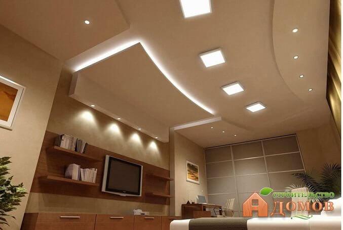 Освещение потолка из гипсокартона: типы освещения, светильников