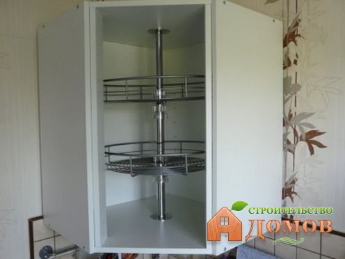 Угловой навесной кухонный шкаф: его разновидности