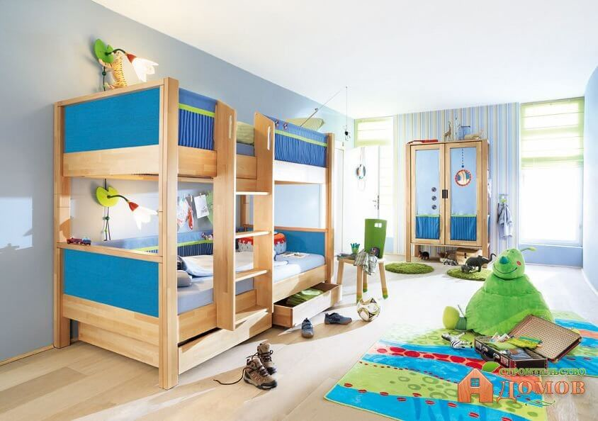 Комната с двухъярусной кроватью. Различные модели двухъярусных кроватей