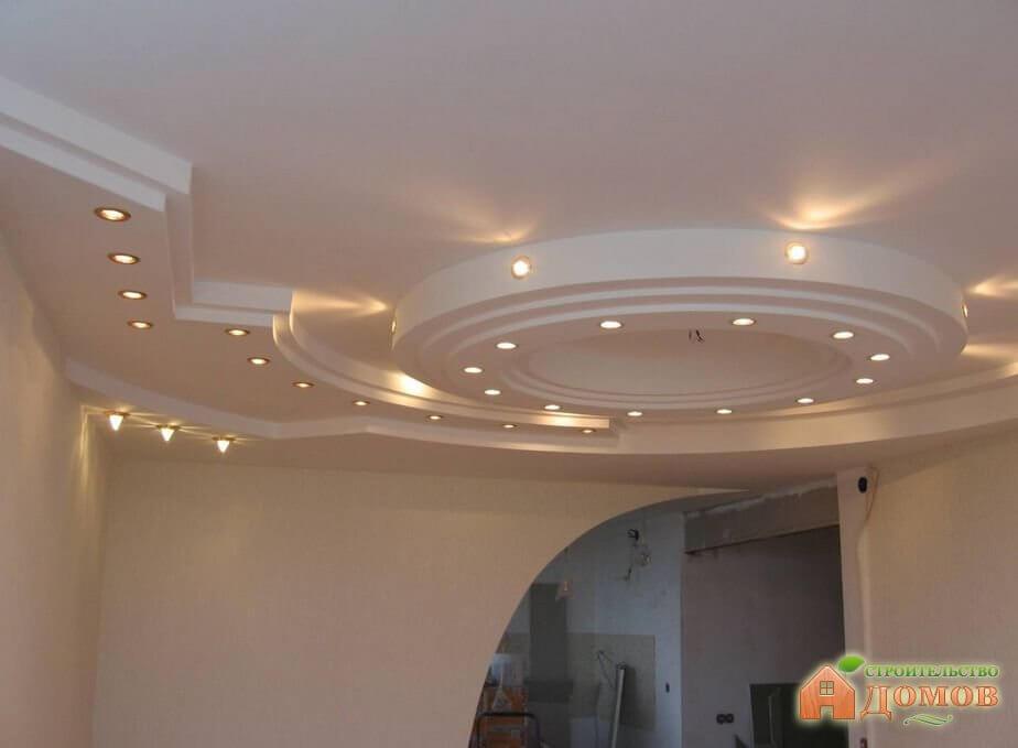 Подсветка двухуровневых потолков из гипсокартона. Точечные светильники, светодиодные ленты, ультрафиолет – что выбрать?