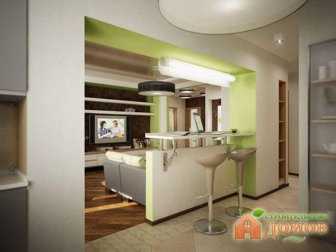 совмещённая кухня с прихожей фото