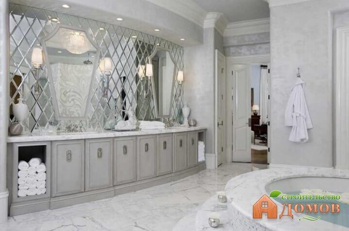 Зеркальная плитка для ванной: её особенности, монтаж