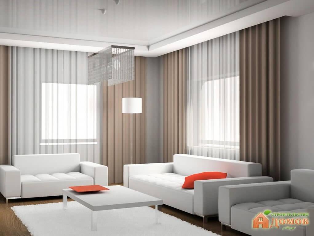 Современные шторы для гостиной: ткани, цвета, дизайн