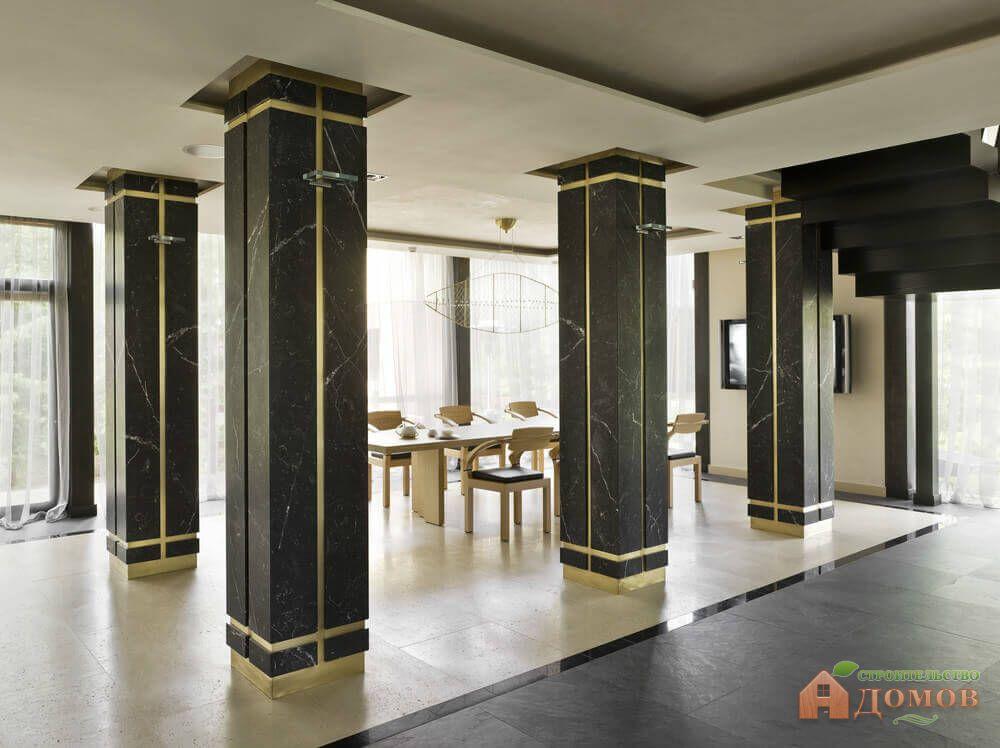 Дизайн колонны в интерьере в соответствии со стилем помещения